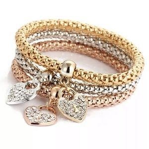 3 Layering  Heart ❤️ Charm Bracelets (3 colors)